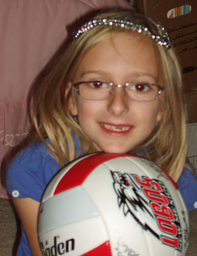 Adrienne w signed volleyball 10-3-09