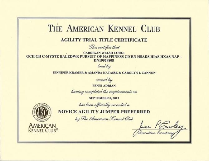 AKC NJP Certificate Blog